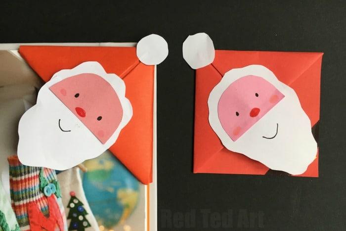 Santa Bookmark Corner Red Ted Arts Blog