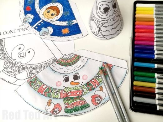 3D Christmas Coloring   3D Snowman   Friends   Red Ted Art s Blog Adorable 3D Snowman coloring page for kids  An adorable Christmas Printable  or Winter Printable for