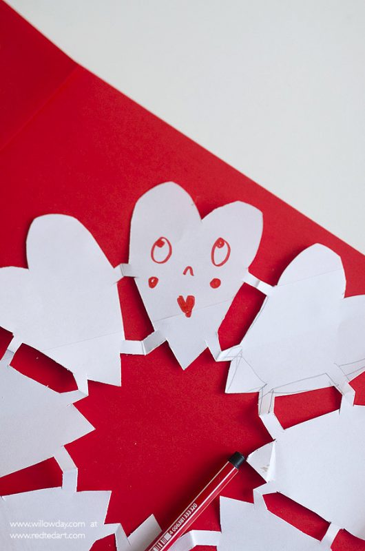Valentine Paper Heart Snowflakes Red Ted Arts Blog
