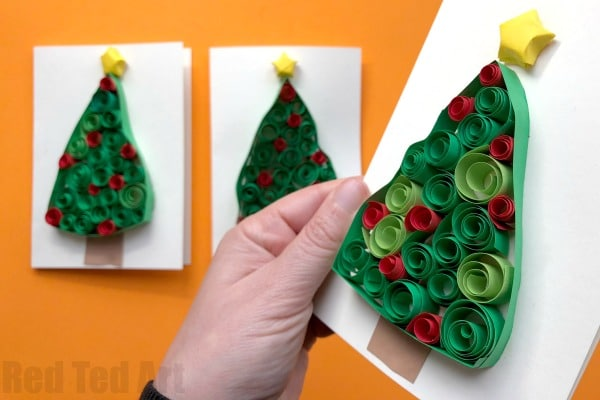 Quilled Christmas Tree Cards Red Ted Arts Blog