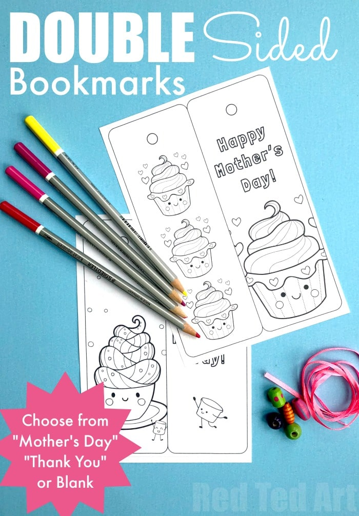 Printable Cupcake Bookmark Red Ted Arts Blog