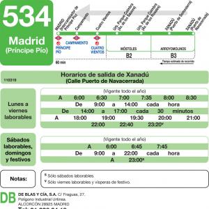 Horarios De Autobús 534 Madrid Principe Pío