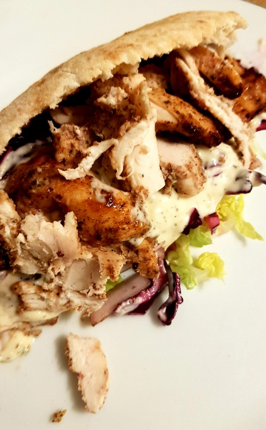 chicken with salad in a pitta bread
