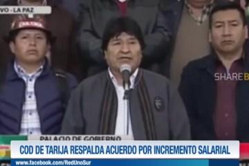 COD DE TARIJA RESPALDA ACUERDO POR INCREMENTO SALARIAL