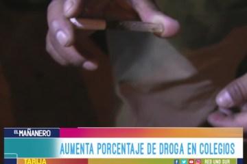 AUMENTA PORCENTAJE DE DROGA EN COLEGIOS