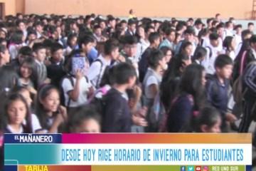RIGE HORARIO DE INVIERNO PARA ESTUDIANTES