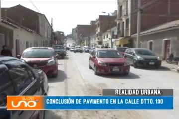 REALIDAD URBANA: CONCLUSIÓN DE PAVIMENTO EN LA CALLE DTTO. 130
