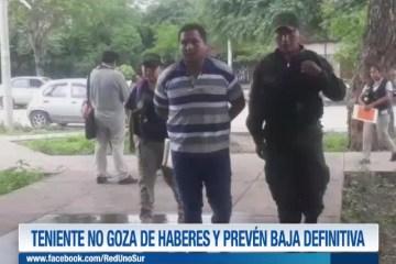 TENIENTE NO GOZA DE HABERES Y PREVÉN BAJA DEFINITIVA