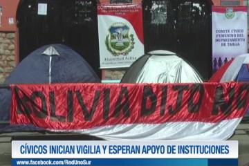 CÍVICOS INICIAN VIGILIA Y ESPERAN EL APOYO DE INSTITUCIONES