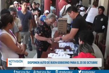 DISPONEN AUTO DE BUEN GOBIERNO PARA EL 20 DE OCTUBRE