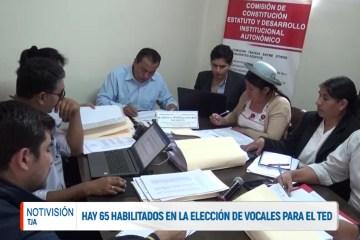 HAY 65 HABILITADOS EN LA ELECCIÓN DE VOCALES PARA EL TED