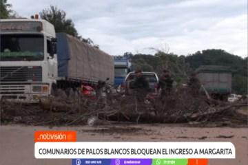COMUNARIOS DE PALOS BLANCOS BLOQUEAN EL INGRESO A MARGARITA