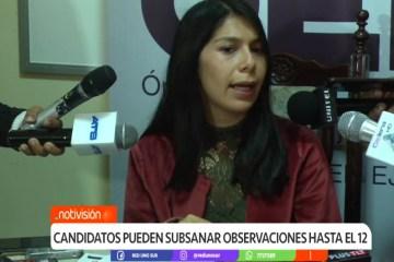 CANDIDATOS PUEDEN SUBSANAR OBSERVACIONES HASTA EL 12 DE FEBRERO