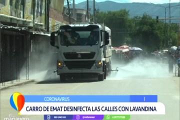 CARRO DE EMAT DESINFECTA LAS CALLES CON LAVANDINA