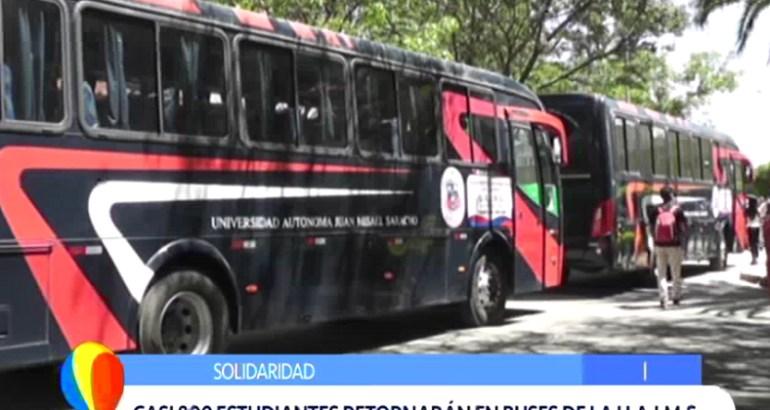 UAJMS COADYUVA A CASI 800 ESTUDIANTES TARIJEÑOS VARADOS EN SUCRE