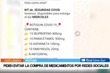 PIDEN EVITAR LA COMPRA DE MEDICAMENTOS POR REDES SOCIALES