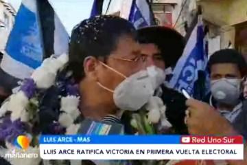 LUIS ARCE RATIFICA VICTORIA EN PRIMERA VUELTA ELECTORAL