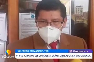 11.850 JURADOS ELECTORALES SERÁN SORTEADOS EN CHUQUISACA