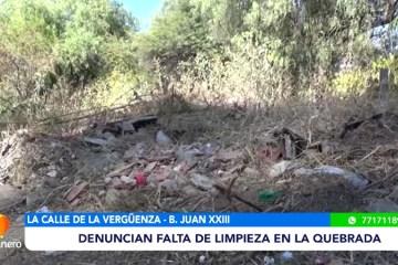 DENUNCIAN FALTA DE LIMPIEZA EN LA QUEBRADA DEL BARRIO JUAN XXIII