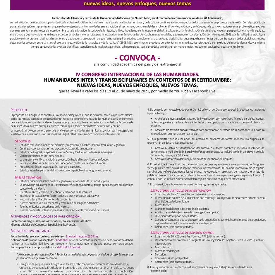 Convocatoria para el Congreso Internacional de Humanidades 2021