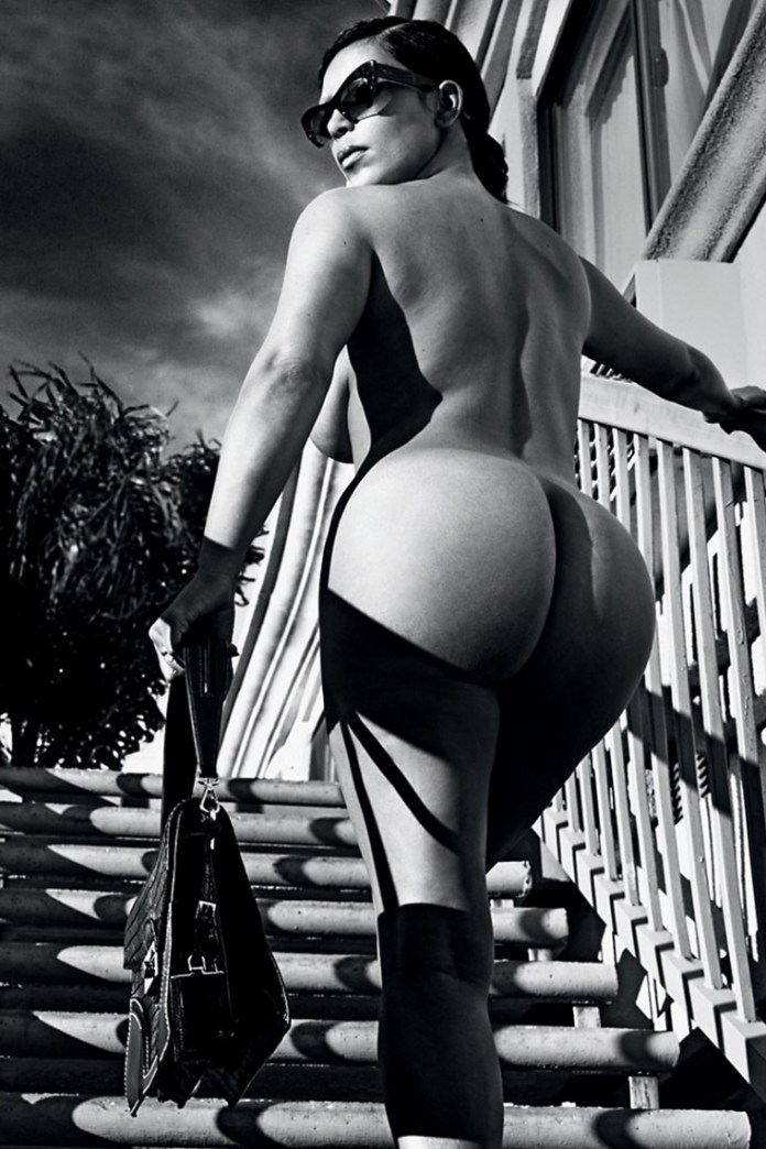 Kim-Kardashian-Nude-And-Eyebrowless-In-Love-Magazine-14-760x1140