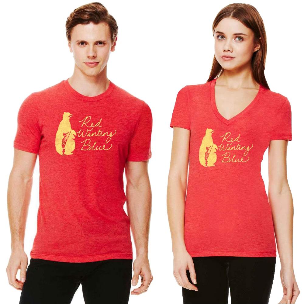 Red Wanting Blue Bear Hunter Shirt Models