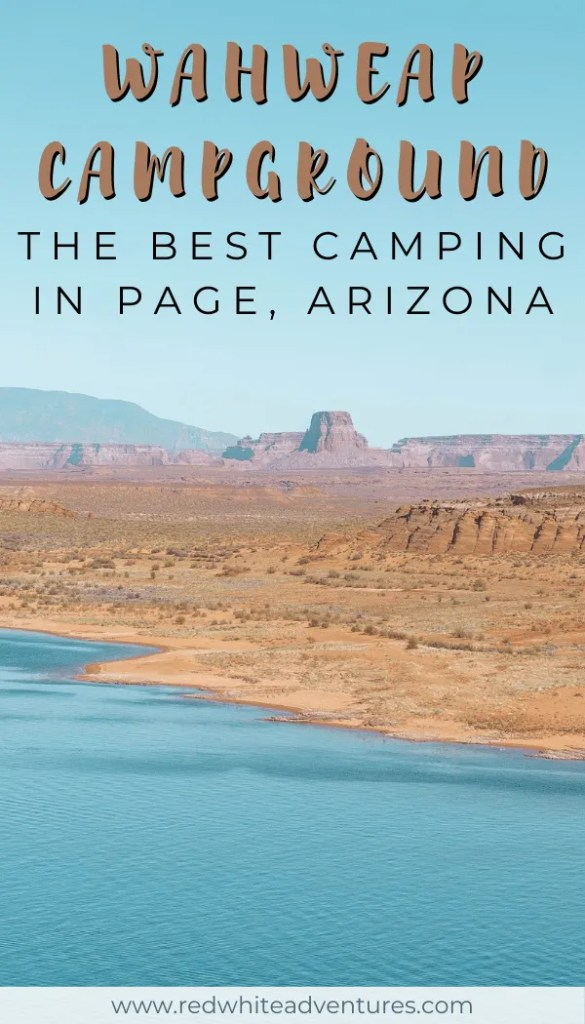 Pin for Pinterest of camping at Lake Powell.