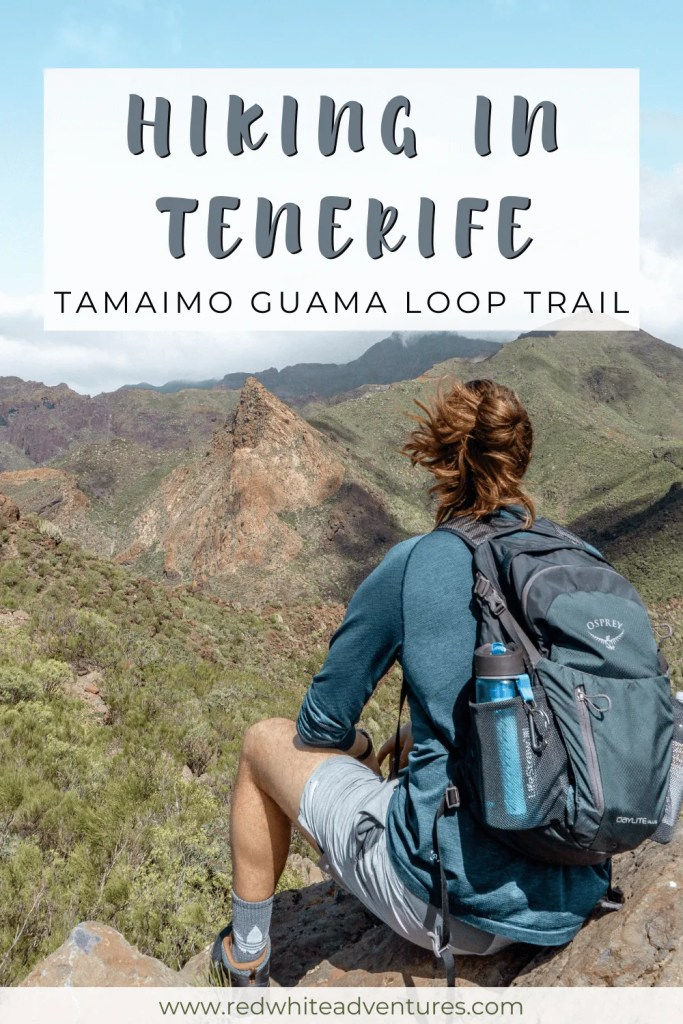 Pin for Pinterest of hiking the Tamaimo-Guama Loop trail in Tenerife.