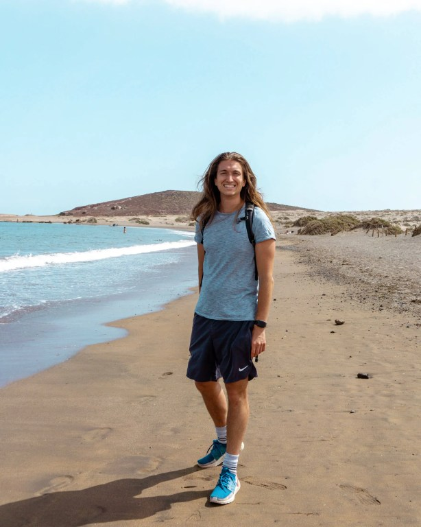 Dom exploring the beautiful beach in El Médano.