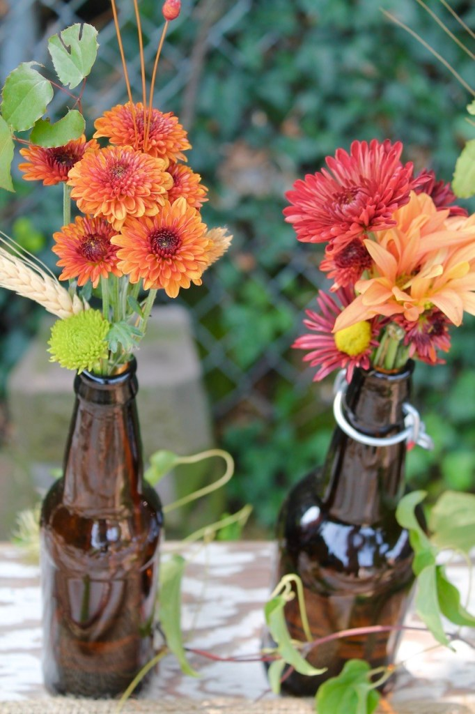 Fall Thanksgiving Beer Bottle Centerpiece