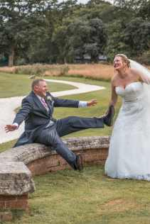 Comedy wedding moment with bride and groom at Kenwick Park Hotel, Lincolnshire