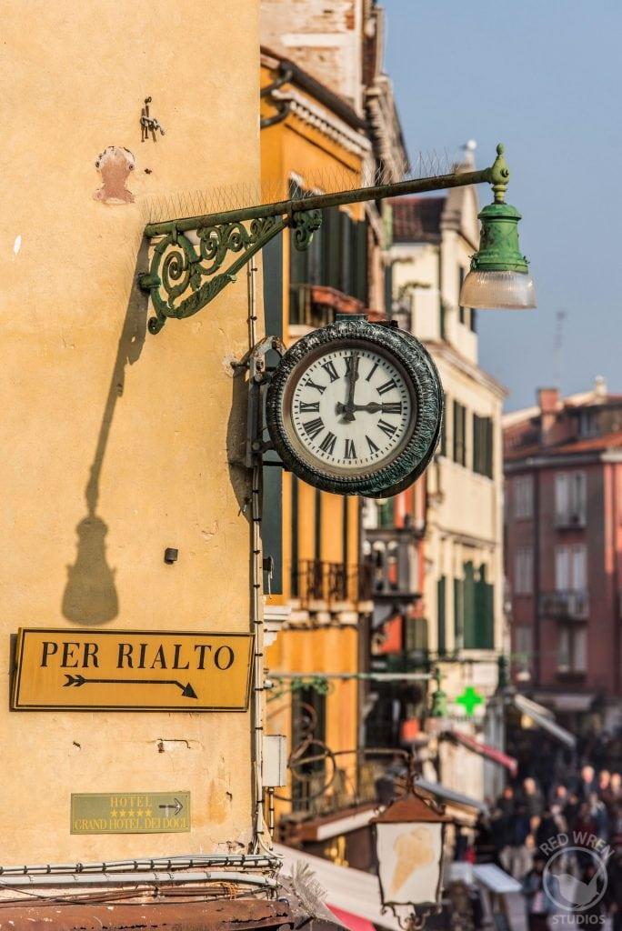 Per Rialto, Venice Italy, Clockface at 3pm