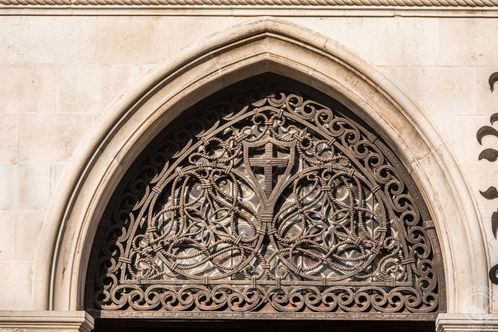 Iron door archway window in Venice, Italy