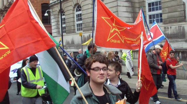 Comrades marching towards Friends Meeting House for the Manchester Rally