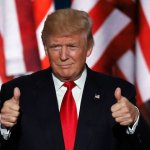 Donald Trump giving a thumbs up