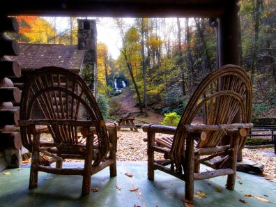 Reeb Ranch Cabin Porch Chairs and Falls