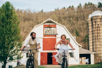 Reeb Ranch Wedding Couple on Bikes