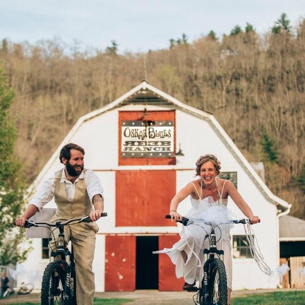 Reeb Ranch Wedding Couple on Bikes
