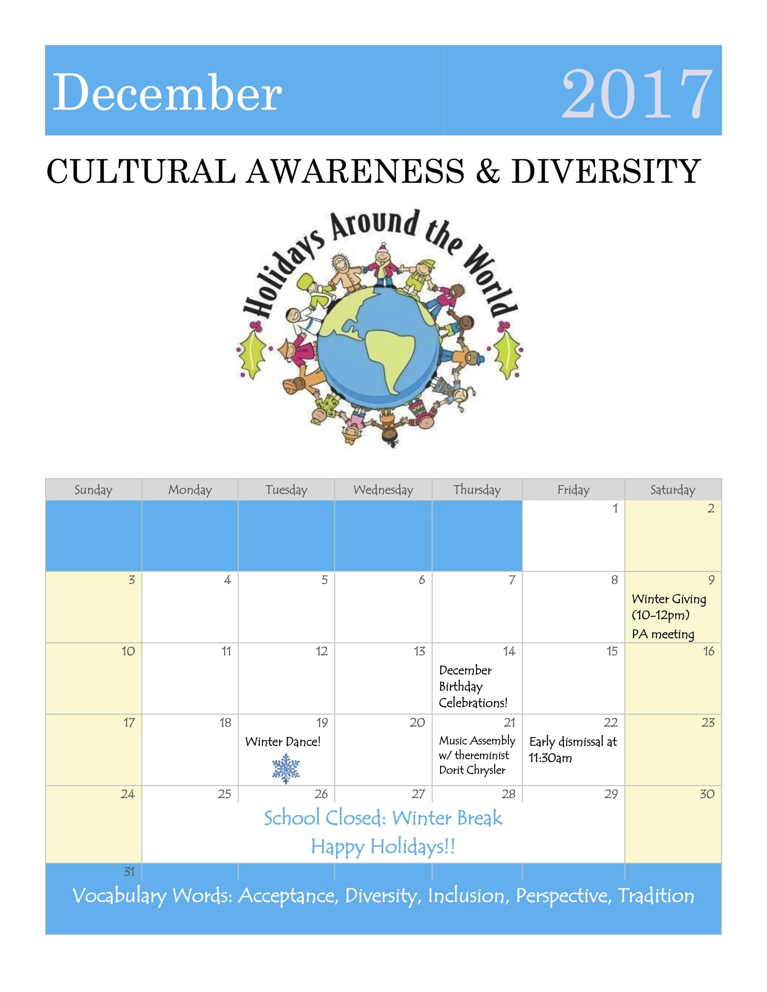 December Is Cultural Awareness Amp Diversity Month