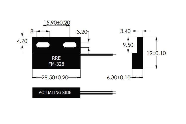 Drawing of FM-328 Ferro-Magnetic Metal Sensor