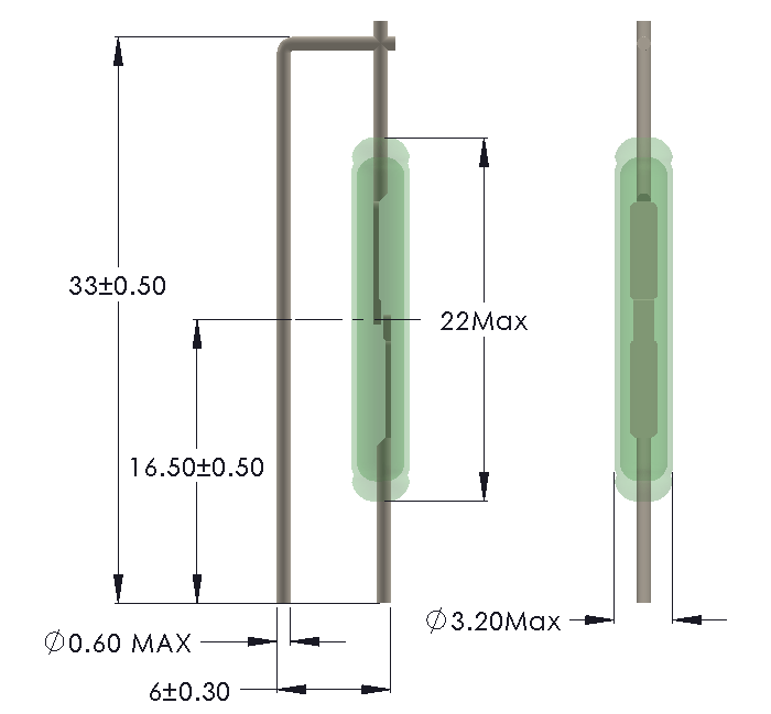 Drawing of Formed Leads for Vertical mounting