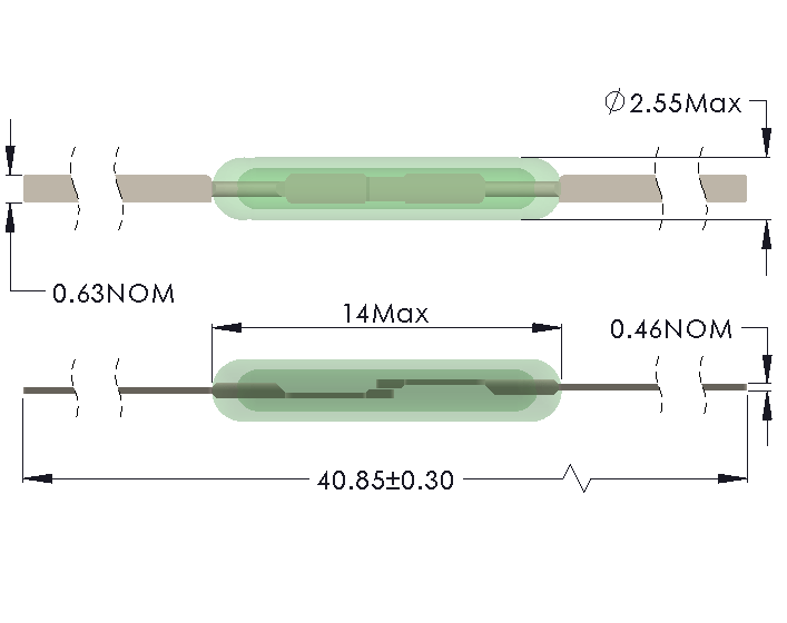 Drawing of MC-1425 Reed Switch