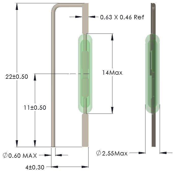 Drawing of MC-1425 Reed Switch for Vertical mounting