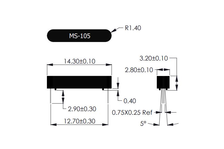 MS-105 Reed Sensor Drawing