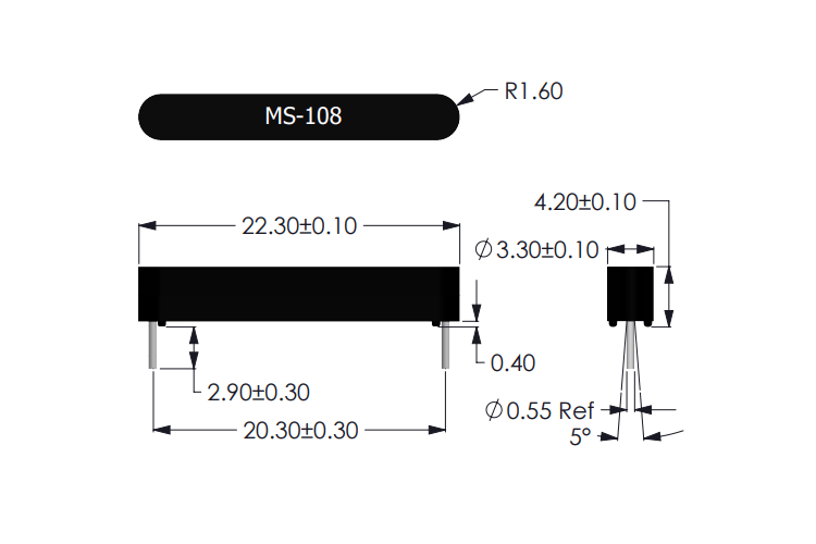 MS-108 Reed Sensor Drawing