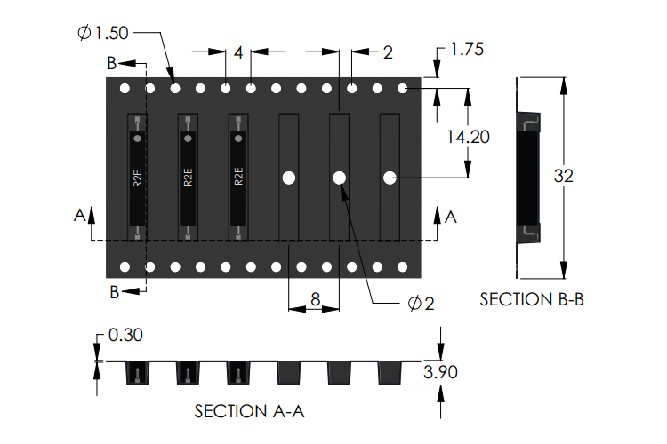 R2E Latching Reed Sensor Carrier Tape Drawing