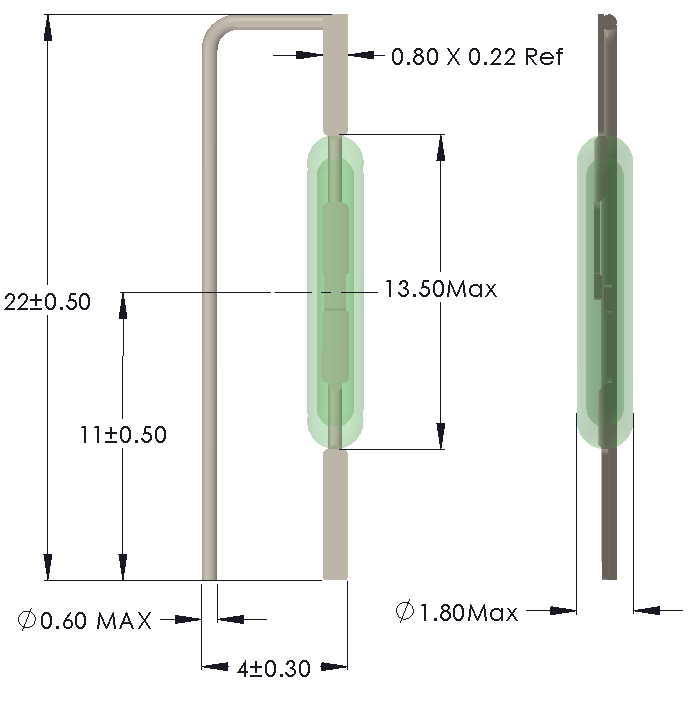 Drawing of Leads formed for vertical mounting