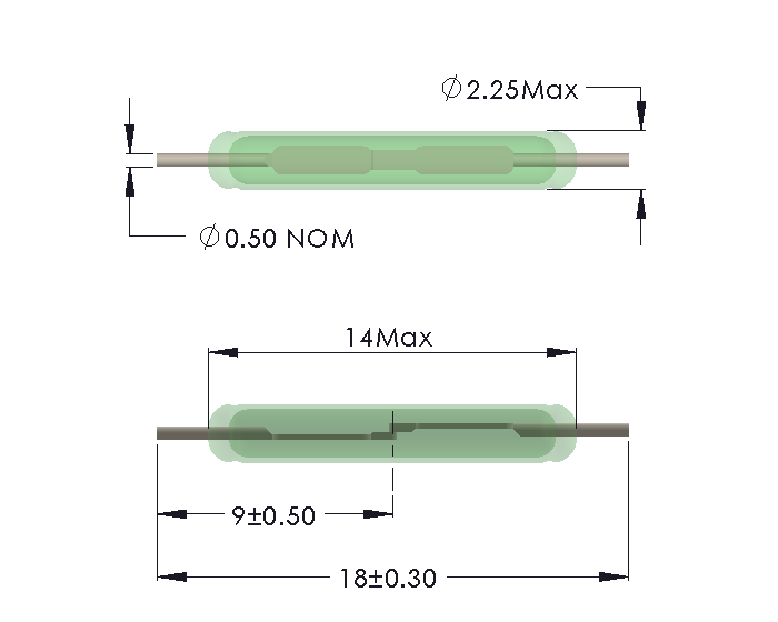 Drawing of SM-1322 Reed Switch for Soldering