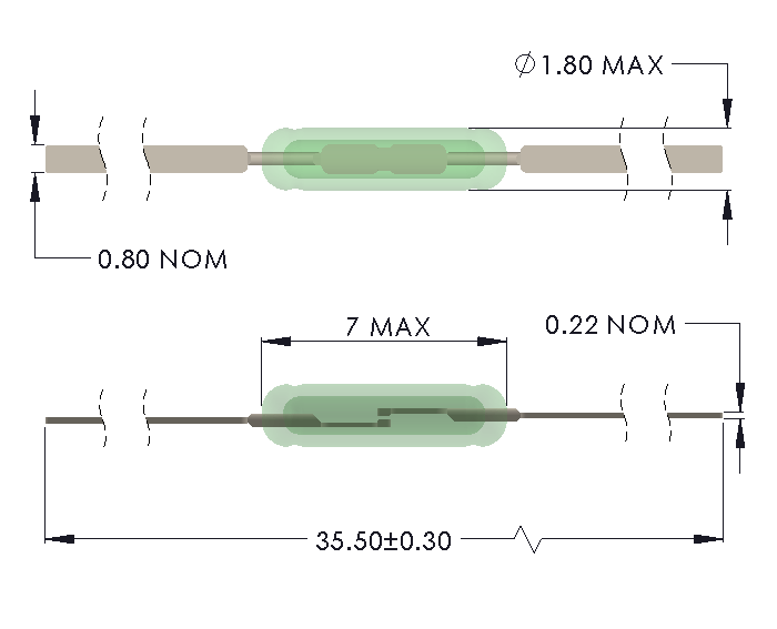 Drawing of UM-0018-H Ultra Miniature Reed Switch with Full Length Leads