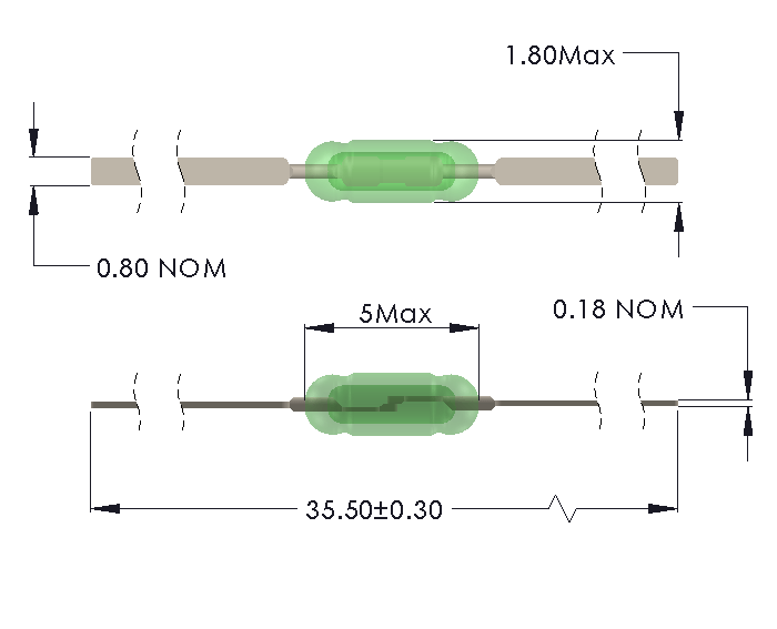 Drawing of UM-0018-M Ultra Miniature Reed Switch with Full Length Leads